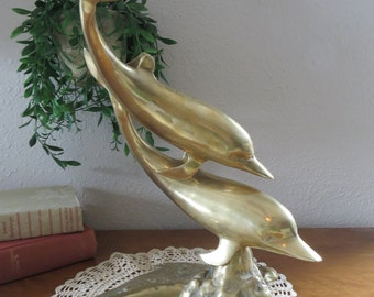 Large Brass Dolphins/Porpoise Figurine.