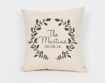 Monogram Pillow, Last Name Pillow, Printed Pillow, Couple Pillowcase, Anniversary Pillow, Pillow With Date, Sentimental Gift
