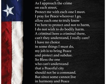 Law Enforcement Police Officer Poster Prayer for Protection Choice of Size and Design Flag or City choice of Glossy or Matte