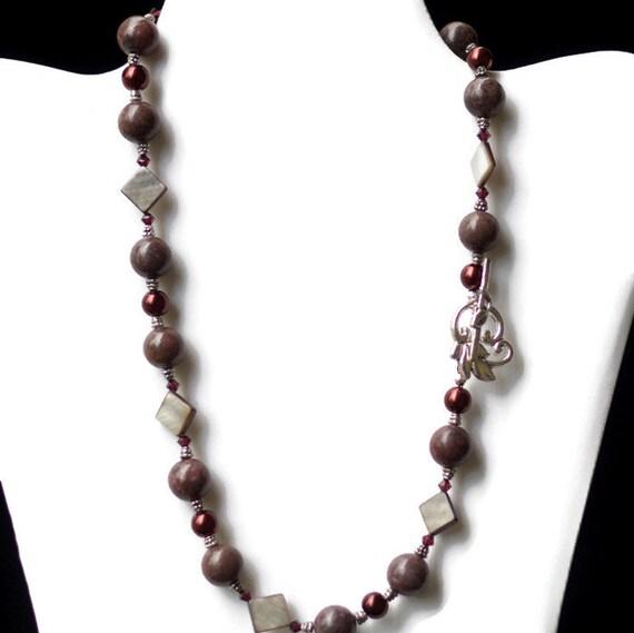 rhodonite pearls formal necklace handmade ooak