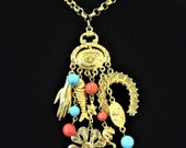 60s Egyptian Charm Necklace Good Luck Amulet Hand Fish Clover Horseshoe Charms Dangle Lucky Charms Egyptian Revival Necklace