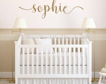 Name Wall Decal Personalized Name Decor Girls Nursery Decal Rustic Cottage  Style Name Decal Girls Bedroom Part 98
