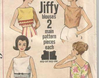 4513 Simplicity Sewing Pattern One Yard Blouse Size 16 36B Vintage 1960s