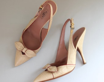 Azzedine Alaia High Heels/ French Designer Pumps w Bows/ Slingback Shoes/ Size 38 EU/ Size 7 7.5 US