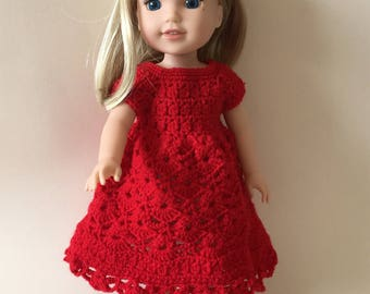 "Hand crocheted dress for 14.5"" doll such as American Girl Wellie Wishers"