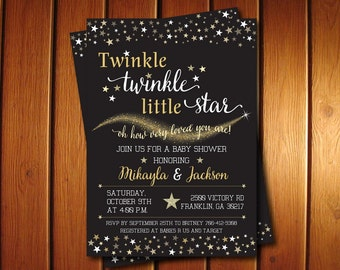 Twinkle Twinkle Little Star Gender Reveal Invitation,  Printable Baby Shower Party