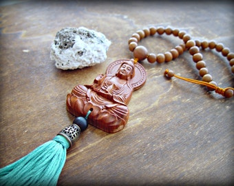 Buddha Necklace - Buddha Jewelry - Yoga Necklace - Yoga Jewelry - Hippie Necklace - Boho Necklace - Mala Necklace