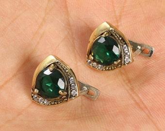 Vintage Style Handmade Emerald Topaz Sterling Silver Earrings
