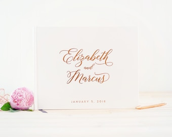 Wedding Guest Book Rose Gold Foil wedding guestbook rose gold sign in book wedding album personalized photo guest book harcdover guest book