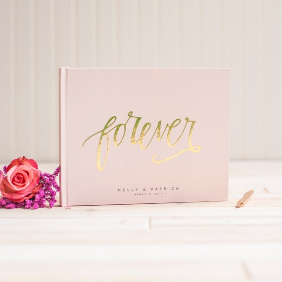 Wedding Guest Book landscape guestbook horizontal wedding album Blush Pink with Gold Foil hardcover guestbook wedding planner bride journal