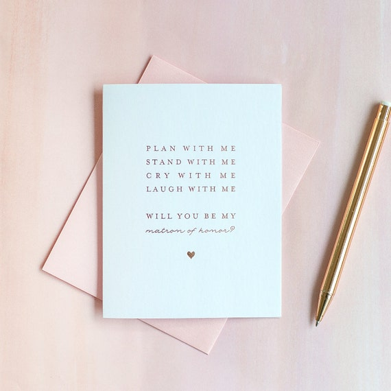 Will You Be My Matron of Honor card Rose Gold Foil matron of honor invitation matron of honor box gift bridal party card bridesmaid proposal