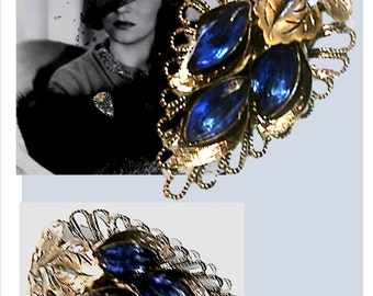 Vintage Fur Clip, Dress Clip, Silver Tone, Blue Rhinestones, Hollywood Glam, 40's Jewelry, 1940's, Vintage Jewelry, Clips, Brooch, Pin
