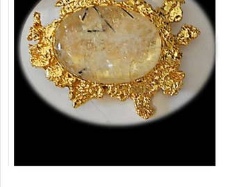 Tourmalated Quartz pin, Healing Quartz, Cabochon, Natural Stone, Quartz Jewelry,  Black Tourmaline, Tourmaline Quartz, Brooch, Upcycled Pin