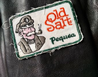 Vintage 70s Sea Captain Old Salt Patch, Sew On Nautical Green and Orange Patch From The 1970s