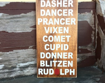 READY TO SHIP Reindeer Names wood sign