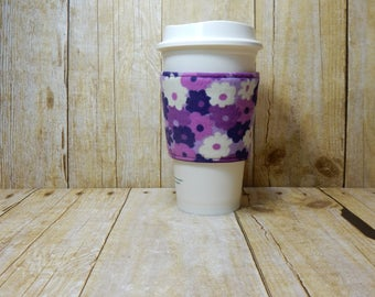 Fabric Coffee Cozy / Purple and White Flowers Coffee Cozy / Coffee Cozy / Tea Cozy