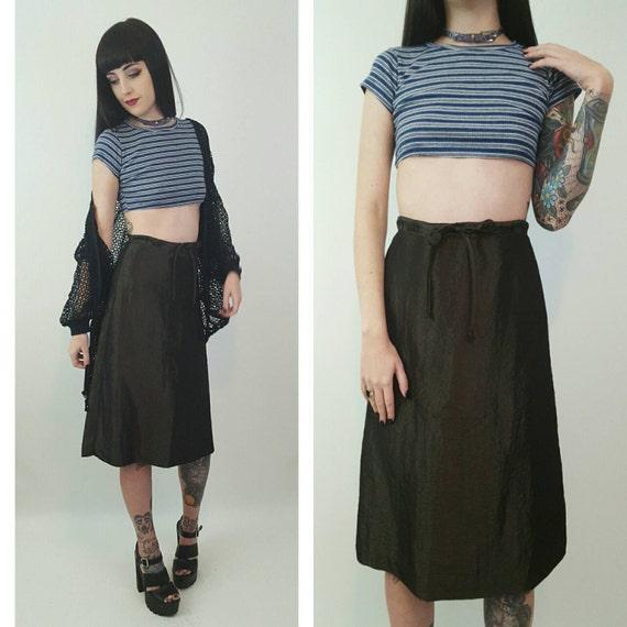 90s Shiny Olive Green High Waist Midi Skirt Small - A-Line Midi Skirt Basic Skirt - High Waist Cyber Iridescent Skater Girl Ripstop Skirt