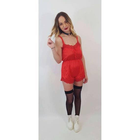 Vintage Red Lace Slip Romper - Sheer Mini Shorts Onesie Small - 70s Vtg Silky Slipdress  Lingerie Spaghetti Strap Jumper Jumpsuit