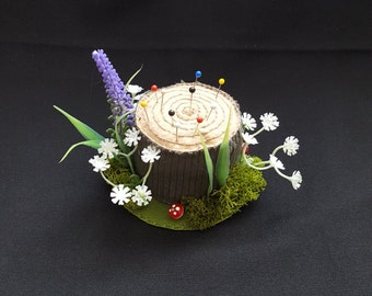 Fairy Tale Forest Handmade Tree Stump Pincushion