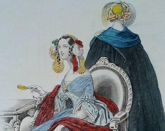 Fashion of Paris 1840, from the Petit Courrier des Dames, Original Hand Colored Steel Engraving, French Ladies, Illustration, Modes de Paris