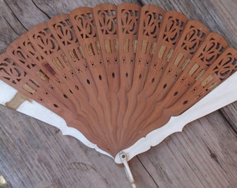 Vintage wood and bone fan