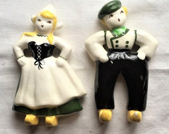 Free Shipping Vintage Glazed Ceramic Dutch Boy and Girl Wall Hangings Plaques Hand Painted California Signed