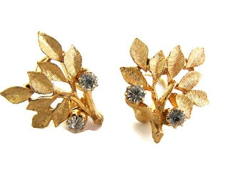 Goldette Leaf earrings Gold Leaf clip ons Clear crystal earrings Goldette earring Gold Goldette jewelry Floral earring Wife anniversary gift