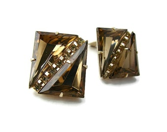 Vintage rhinestone earring Brown earrings Brown crystals Square crystal Statement clip on Brown gold crystal earring Vintage jewelry gifts