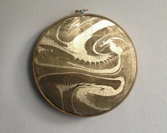 Home Decor Gold Lame Marble Hoop Art, Abstract Art, Wall Decor