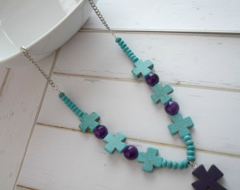 Christian Jewelry, Jewelry Necklace, Bible Necklace, Bible Jewelry, Turquoise Cross Bead, Christian Necklace, Faith Necklace, Cross Pendant