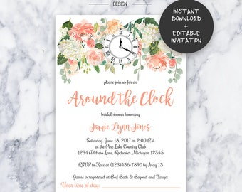 Around the Clock Bridal Shower Invitation | INSTANT DOWNLOAD | Editable PDF| Do It Yourself | Printable