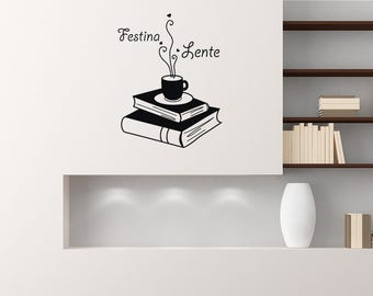 Wall Decals Festina Lente Quotes Books Coffee Reading Shelf Vinyl Decal Sticker Home Decor Living Room Office Study Murals ML7
