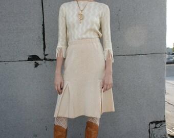 Adolfo Ivory Bouclé Box Pleat Skirt- Small