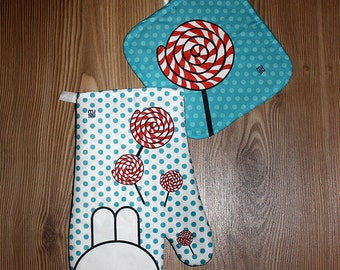 Oven Mitt Pot Holder Set Kitchen Potholders Gloves Cookware Hot Pad Decor Dining Lollipop Rabbit