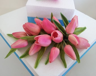 Tulip Cake Topper Coral Real Touch Flowers