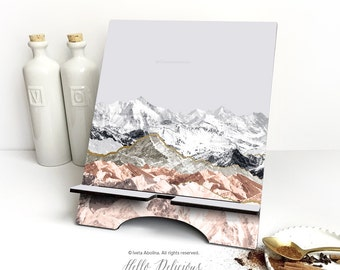 """iPad Stand Large, """"Pastel Mountains """" by I. Abolina, Mountain iPad Mini Stand, Docking Stand Samsung, Smartphone Stand, Cookbook Stand 31."""