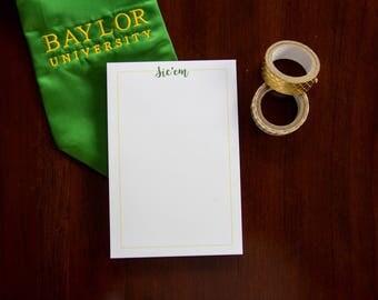 Sic'em Notepad, Baylor Notepad, Graduation Gift, Sic'em Bears, Baylor Graduation