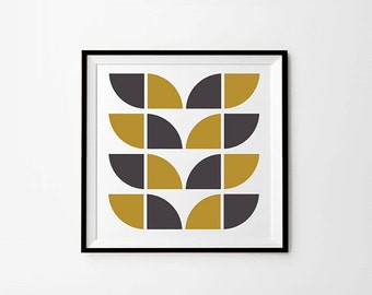 Scandi pattern, 8 x 8 in, 10 x 10 in, 12 x 12 in,  Scandinavian modern, grey and mustard yellow, scandi poster, Mustard Printable Wall Art