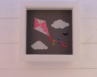 Kite nursery picture applique, textile art, nursery decor, applique picture