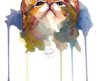 Cat - Kitten  Original Watercolor Painting 8 inches x 10 inches