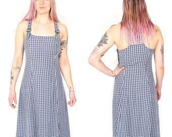 Vintage 90s Plaid Maxi Dress - 90s Grunge Norcmcore Blue White Plaid Jumper Dress - 90s Minimalist Plaid Check Buckle Strap Overall Dress