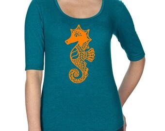 Womens Tri-Blend Scoop Neck Half Sleeve, Tri Blend Tee, Whimsical Seahorse Tshirt, Cute Seahorse T Shirt, Ocean Animal, Nautical