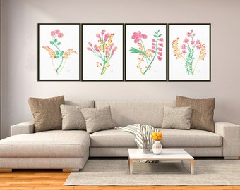Watercolor Flowers, Print Set of 4, Abstract flower, Art Prints, pastel colors print, Flower Wall Art, Minimalist Art, living room decor