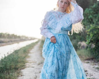Vintage Boho Festival Dress || Edwardian Gown || Lace Hippie Dress