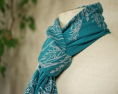 Wild Meadow Scarf - ecofriendly screenprint on Petrol Cotton Jersey -Long Shawl - gray Floral Print on blue green light wrap