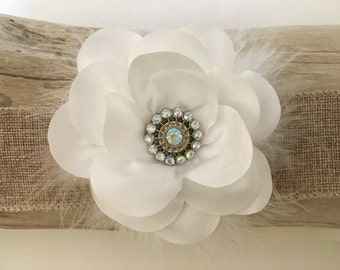 White, Bridal Hair Flower Clip, White Chiffon Flower Hair Clip, Flower Girl Hair Bows,  Ivory , Gray, Lavender Bridal Flower Hair Clips,