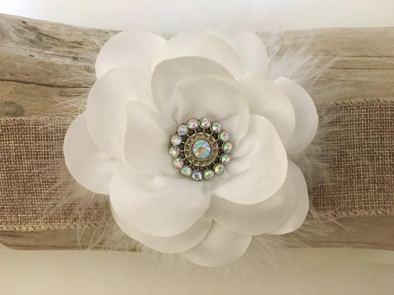 White Bridal Hair Flower Clip White Chiffon Flower Hair Clip
