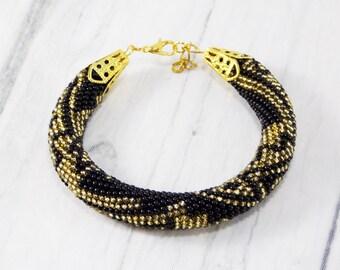 Anniversary gifts/for/women black gift/for/bride Golden black jewelry black beaded bracelet industrial bracelet black bracelet boho bracelet