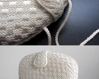 80s vintage bag - cream soutache clutch off white bag - 80s Heavenly bag