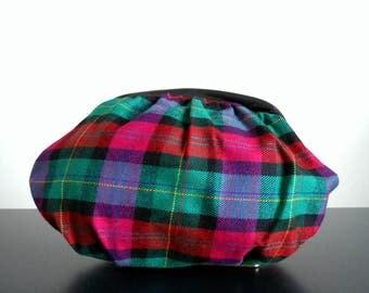80s vintage bag - plaid clutch magenta green plaid bag - 80s Ms. Ives bag